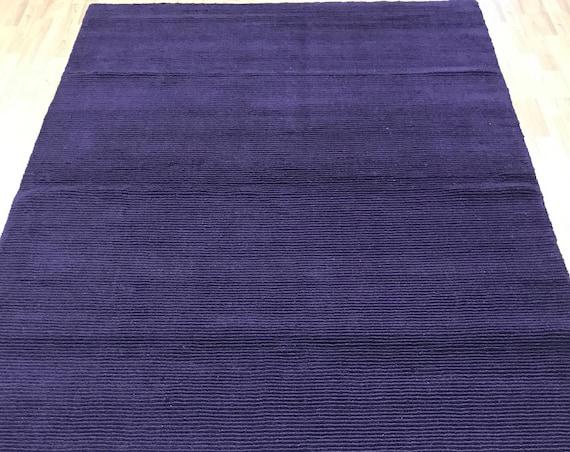 "5'6"" x 8'6"" New Nepal Oriental Rug - Purple - Modern - Hand Made - 100% Wool"