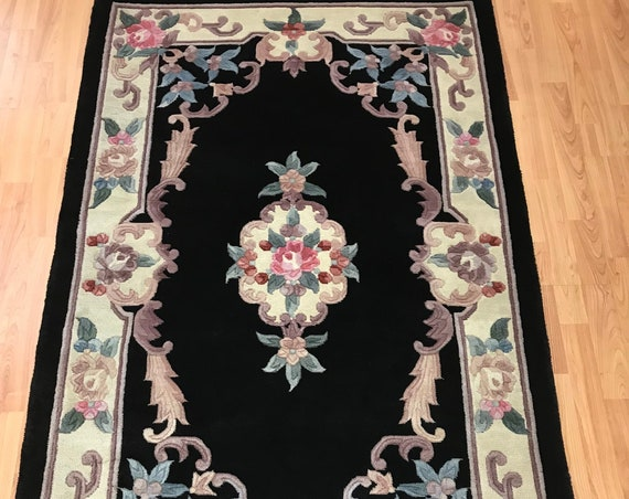 """3'6"""" x 5'8"""" Chinese Aubusson Oriental Rug - Full Pile - Hand Made - 100% Wool"""