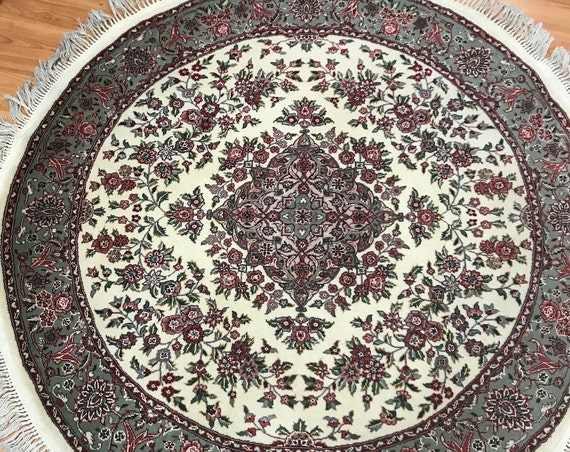 "5'1"" x 5'1"" Round Sino Chinese Oriental Rug - Full Pile - Hand Made - Wool & Silk"