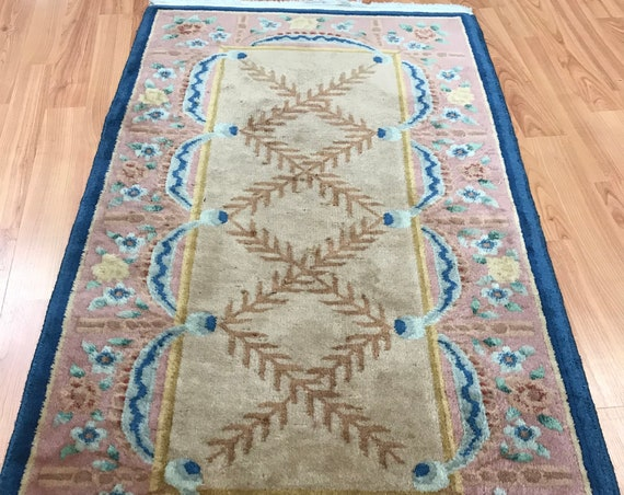 2' x 4' Antique Chinese Art Deco Oriental Rug - 1930s - Hand Made - 100% Wool