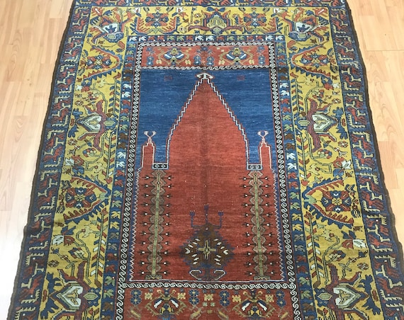 "4'2"" x 6' Turkish Kazak Oriental Rug - 1920s - Mehrab Design - Hand Made - 100% Wool"