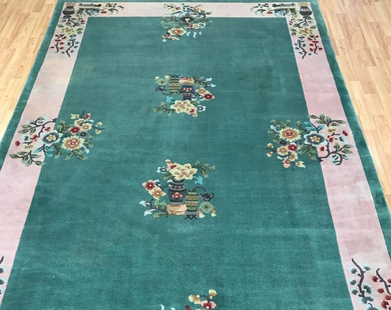"5'9"" x 9' Chinese Art Deco Oriental Rug - Full Pile - Hand Made - 100% Wool"