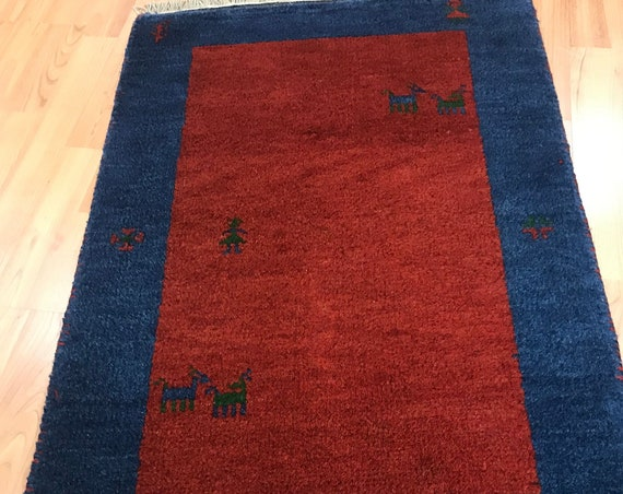 2' x 3' Indian Gabbeh Oriental Rug - Vegetable Dye - Hand Made - 100% Wool