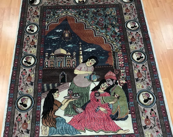 "4'1"" x 6'2"" Pakistani Omar Khayyam Hanging Oriental Rug - Very Fine - Hand Made - 100% Wool"
