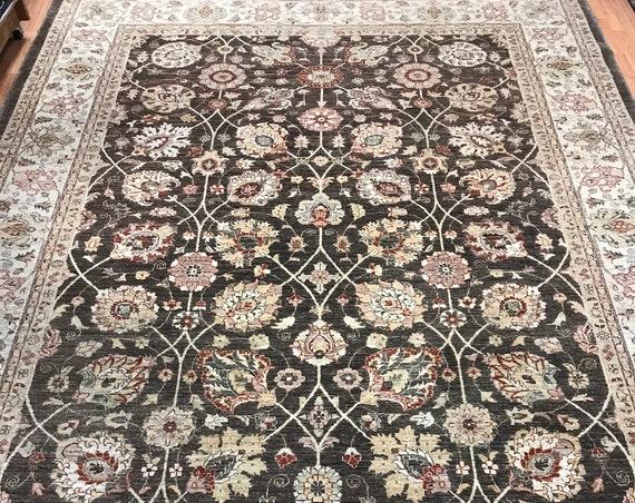9' x 12' Indian Agra Oriental Rug - Vegetable Dye - Hand Made - 100% Wool