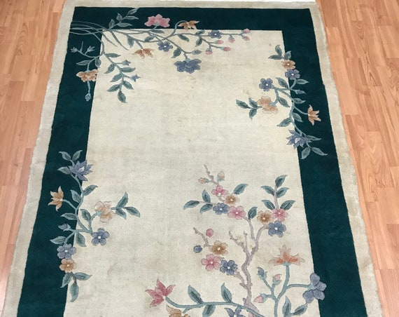 "4'1"" x 6'1"" Chinese Art Deco Oriental Rug - Full Pile - Hand Made - 100% Wool"