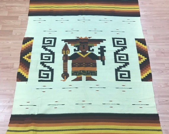 "3'6"" x 6'3"" Native American Navajo Blanket Oriental Rug - Hand Made"