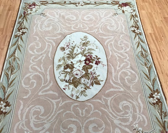 5' x 7' Chinese Aubusson Needle Point Oriental Rug - Hand Made - 100% Wool
