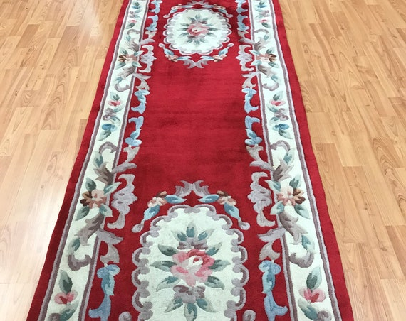 "2'6"" x 12' Chinese Aubusson Oriental Rug Floor Runner - Hand Made - 100% Wool"