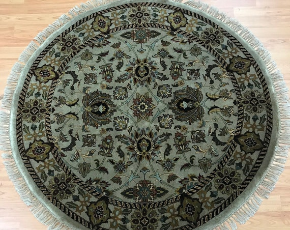 4' x 4' Round Indian Floral Oriental Rug - Hand Made - 100% Wool