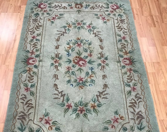 "3'8"" x 5'6"" Chinese Stitch Work Oriental Rug - Hand Made - 100% Wool"