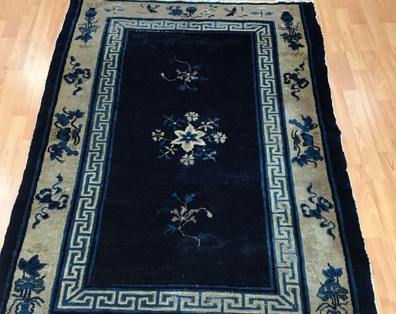 "3'8"" x 5'2"" Antique Chinese Art Deco Oriental Rug - 1920s - Hand Made - 100% Wool"