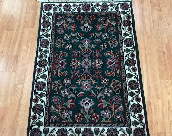 2' x 3' Indian Floral Design Oriental Rug - Dark Green - Hand Made - 100% Wool