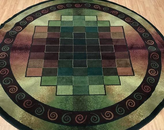 8' x 8' Round Turkish Art Deco Oriental Rug - 100% Olivine Pile
