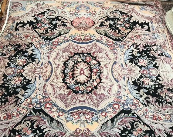 "11'2"" x 14' Chinese Needle Point Oriental Rug - Hand Made - 100% Wool"