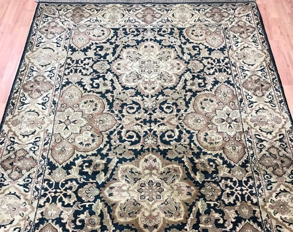 "5' x 7'2"" Indian Jaipur Oriental Rug - Green - Hand Made - 100% Wool"