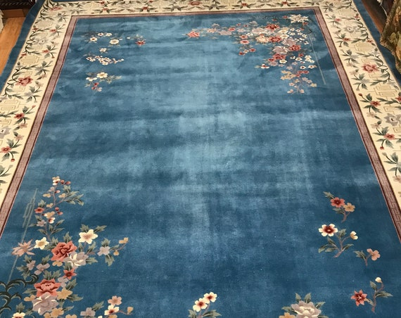 "9'10"" x 14' Chinese Art Deco Oriental Rug - 120 Line - Very Fine - Hand Made - 100% Wool"