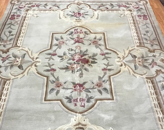 "7'10"" x 10'5"" Chinese Aubusson Oriental Rug - Full Pile - Hand Made - 100% Wool"