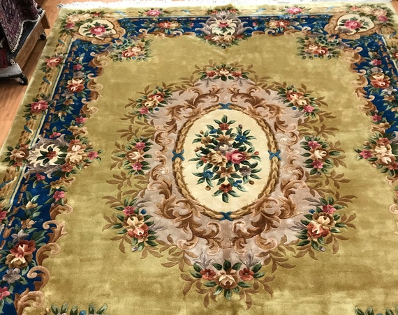9' x 12' Chinese Aubusson Oriental Rug - Full Pile - Hand Made - 100% Wool