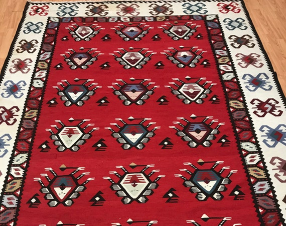 "6'9"" x 9'9"" Turkish Bessarabian Kilim Oriental Rug - 1950 - 100% Wool - Hand Made"