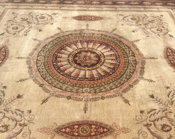 12' x 15' Indian Jaipur with French Aubusson Design Oriental Rug - Very Fine - Hand Made - 100% Wool