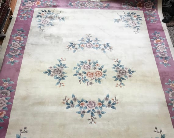 10' x 14' Chinese Art Deco Oriental Rug - Full Pile - Hand Made - 100% Wool