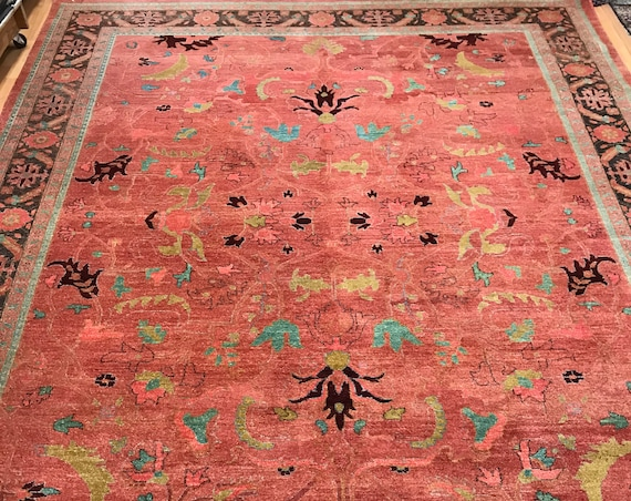9' x 12' Indian Agra Oriental Rug - Vegetable Dye - Hand Made - 100% Wool