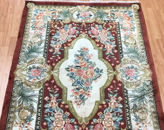 4' x 6' Chinese Aubusson Oriental Rug - Full Pile - Hand Made - 100% Silk