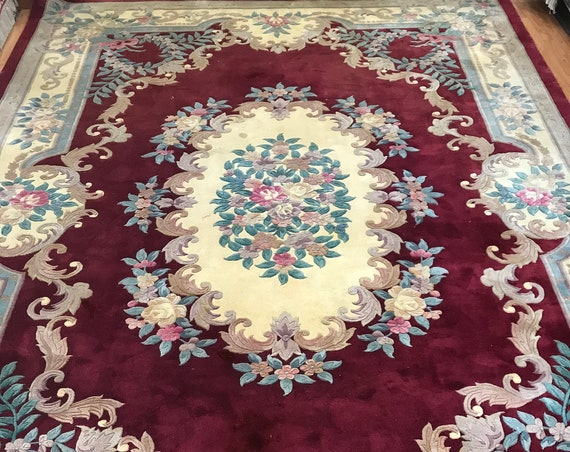 "9'7"" x 13'7"" Chinese Aubusson Oriental Rug - 90 Line - Hand Made - 100% Wool"