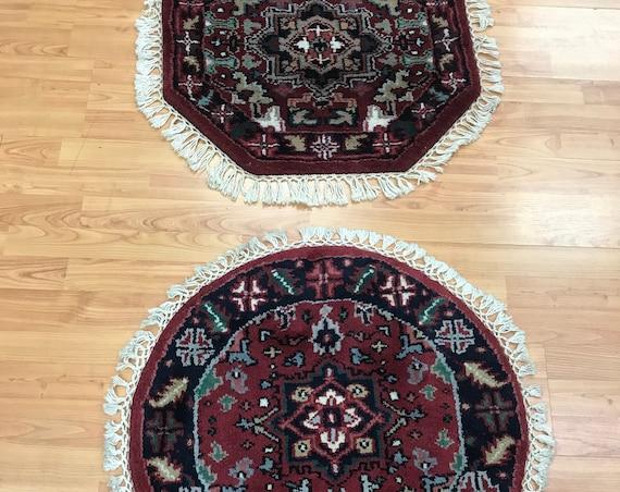 "2'1"" x 2'1"" Set of 2 New Indian Heriz Design Oriental Rug - Hand Made - 100% Wool"