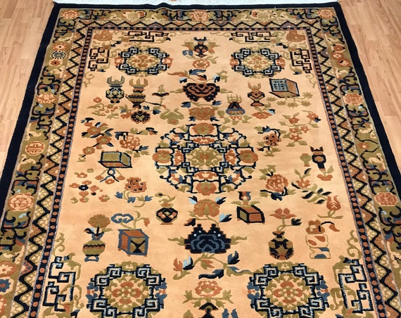 6' x 9' Chinese Art Deco Oriental Rug - Hand Made - Full Pile - 100% Wool