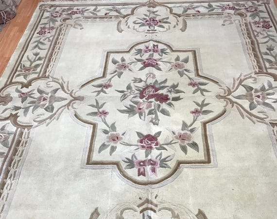 "8'1"" x 10'7"" Chinese Aubusson Oriental Rug - Hand Made - 100% Wool"