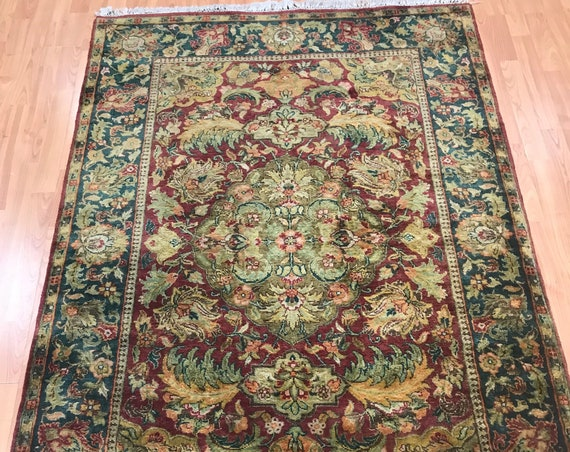 "4'1"" x 6'4"" Indian Agra Oriental Rug - Full Pile - Hand Made - 100% Wool"