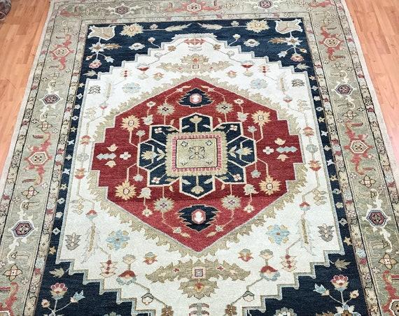 "6' x 9'1"" Pakistani Peshawar Serapi Heriz Design Oriental Rug - Hand Made - 100% Wool"