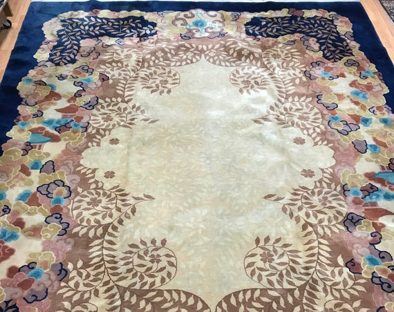 "8'10"" x 11'6"" Chinese Art Deco Oriental Rug - 1940s - Hand Made - 100% Wool"