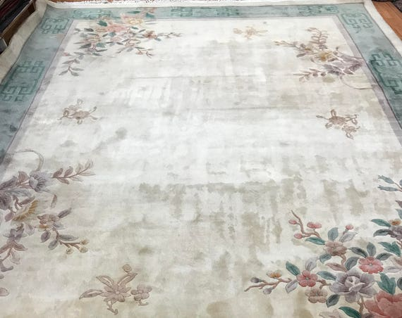 "9'2"" x 12'2"" Chinese Art Deco Oriental Rug - Full Pile - Hand Made - 100% Wool"