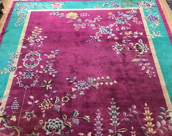 """8'1"""" x 11'6"""" Antique Chinese Art Deco Oriental Rug - 1920s - Hand Made - 100% Wool"""