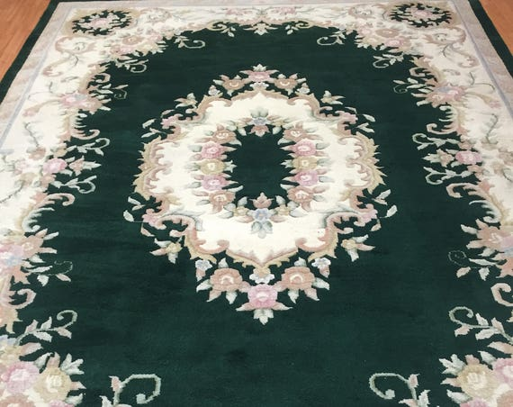 "8'5"" x 11'9"" Chinese Aubusson Oriental Rug - Hand Made - 100% Wool"