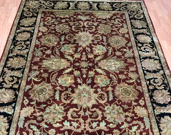 "6'1"" x 9'2"" Indian Agra Oriental Rug - Hand Made - Full Pile - 100% Wool"