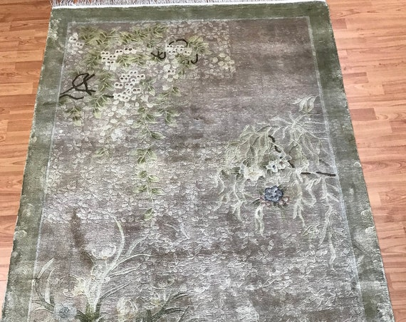 4' x 6' Chinese Art Deco Oriental Rug - Full Pile - Hand Made - 100% Silk