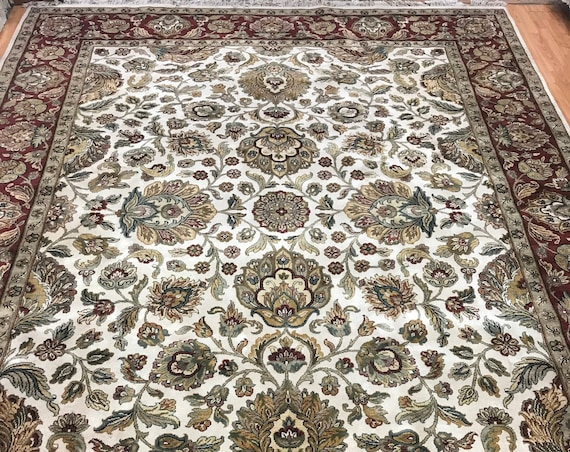 "9'2"" x 12'2"" Indian Agra Design Oriental Rug - Full Pile - Hand Made - 100% Wool"