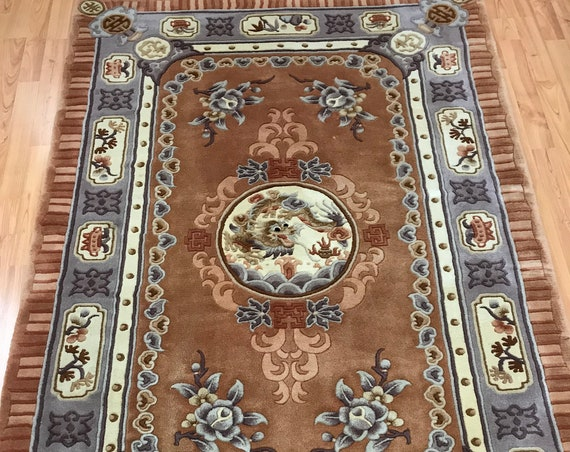4' x 6' Chinese Art Deco Oriental Rug - Dragon Design - Hand Made - 100% Wool