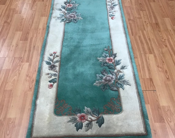 "2'3"" x 10' Chinese Art Deco Oriental Rug Floor Runner - Hand Made - 100% Wool"