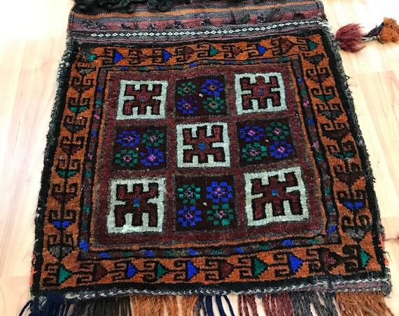"1'7"" x 3'3"" Antique Turkeman Decorative Saddle Bag Oriental Rug - 1920 - Hand Made"