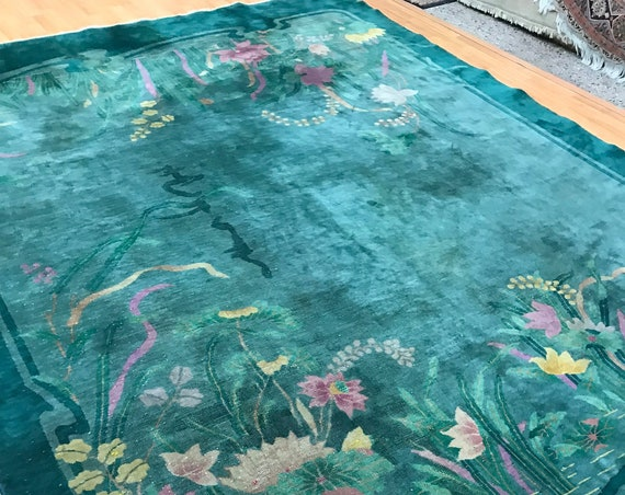 "8' x 11'3"" Chinese Art Deco Oriental Rug - 1920s - Hand Made - 100% Wool"