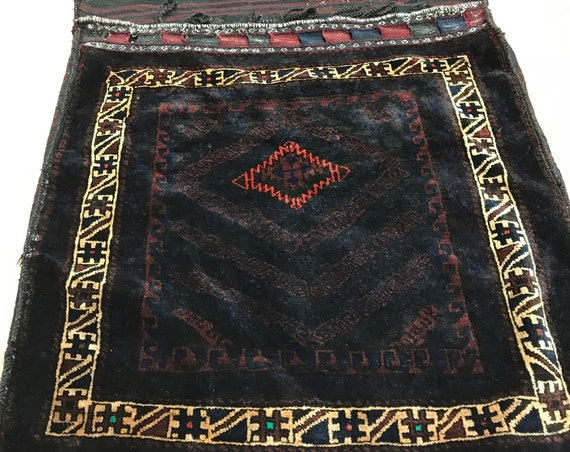 "3' x 6'4"" Antique Turkeman Decorative Saddle Bag Oriental Rug - 1920 - Hand Made"
