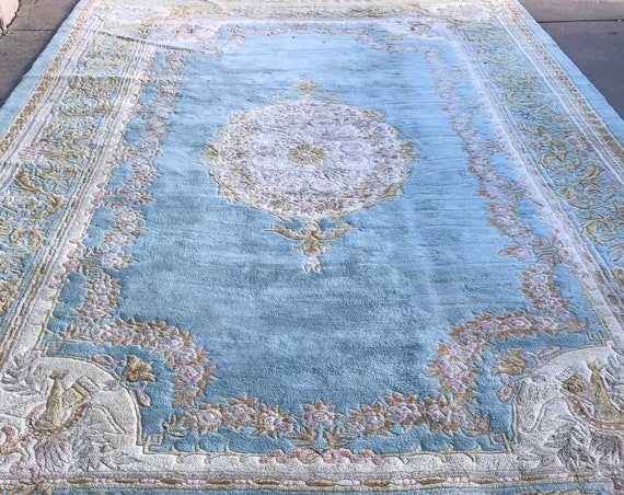 11' x 18' Chinese Aubusson Oriental Rug - 1980s - Full Pile - Hand Made - 100% Wool