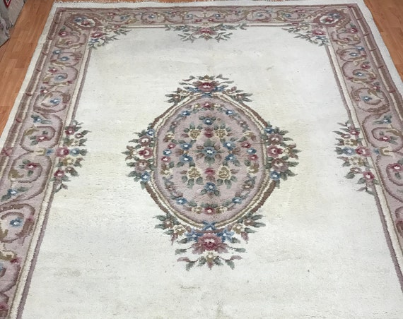 "8' x 11'5"" Chinese Aubusson Oriental Rug - 1960s - Hand Made - 100% Wool"