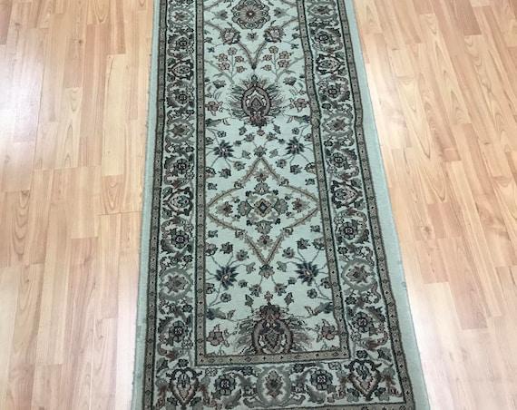 "2'3"" x 7'9"" Turkish Kashan Oriental Rug Floor Runner - 1950s - Vintage"