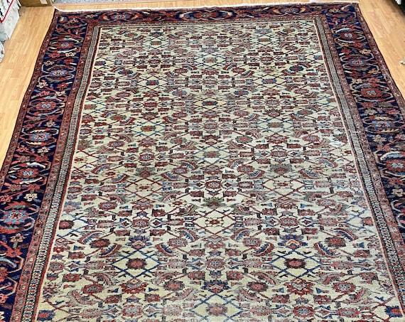 """8'7"""" x 12'9"""" Antique Turkish Oriental Rug - 1890s - Hand Made - 100% Wool"""